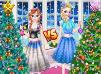 Anna si Elsa Concurs de Impodobit Bradul