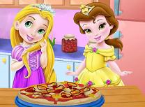 Bebelusele Belle si Rapunzel Fac Pizza