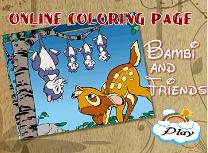 Coloreaza cu Bambi si Prietenii