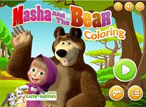 Coloreaza cu Masha si Ursul