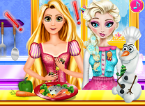 Elsa si Rapunzel in Bucatarie