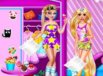 Rapunzel si Elsa Petrecere In Pijamale