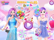 Barbie si Elsa in Candyland