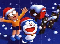 Doraemon Puzzle de Craciun
